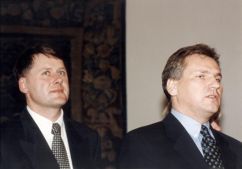Prezydent Aleksander Kwaśniewski z rzeczenikiem